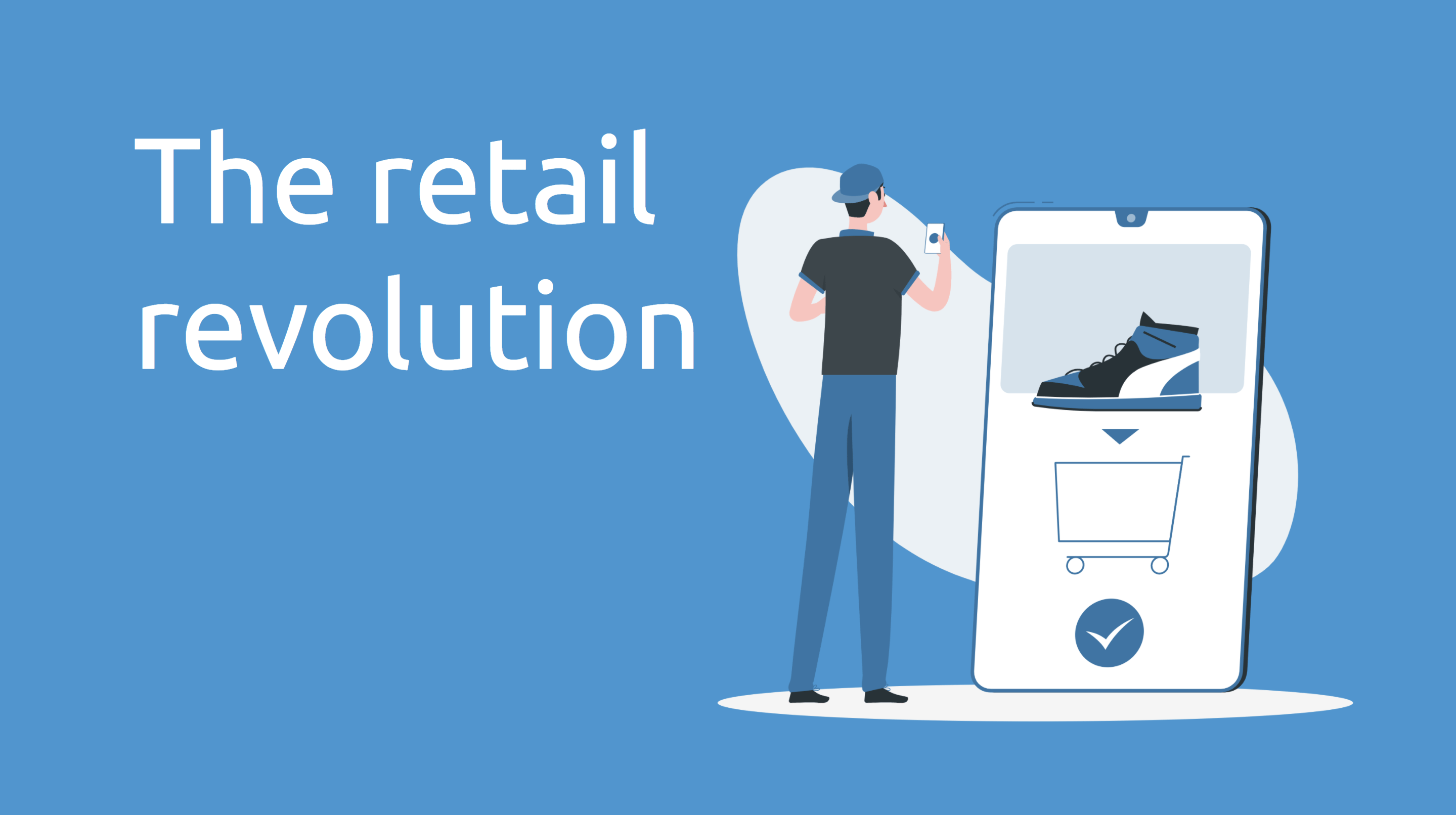 infographic retail revolution - man using e-commerce app to buy shoes