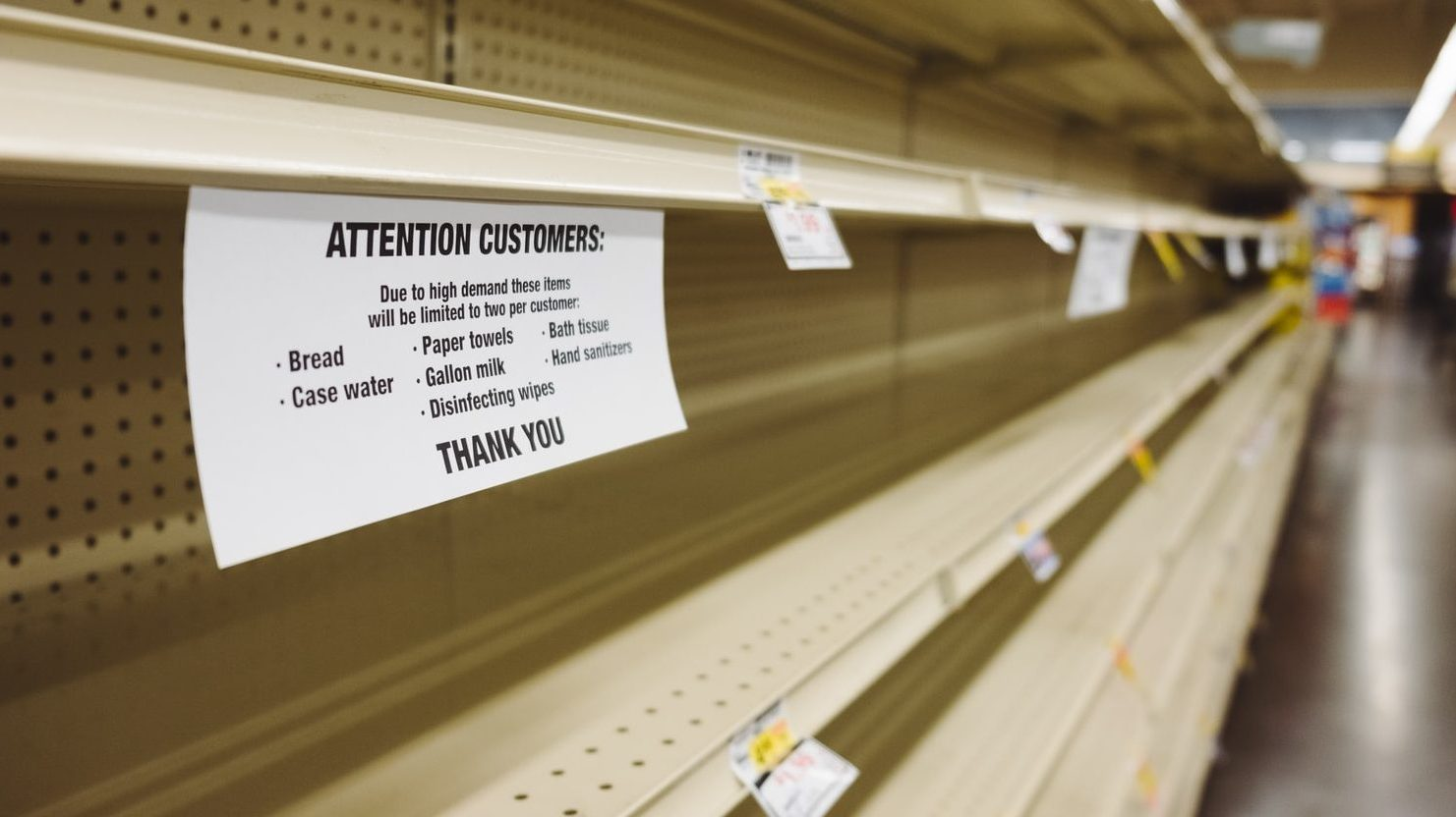 resilient supply chain - empty supermarket shelves due to covid-19