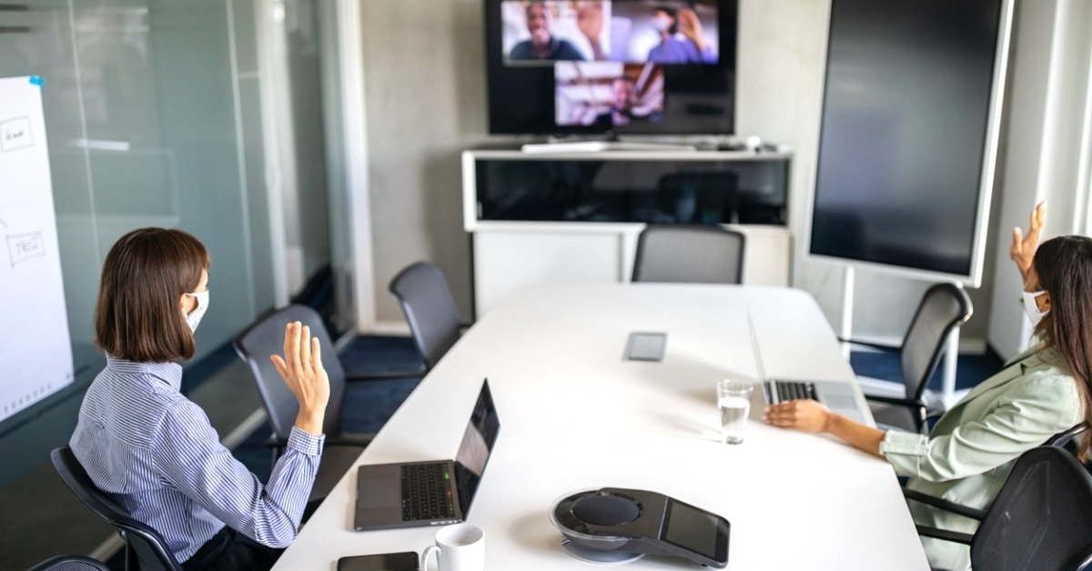 hybrid workforces - business video conference