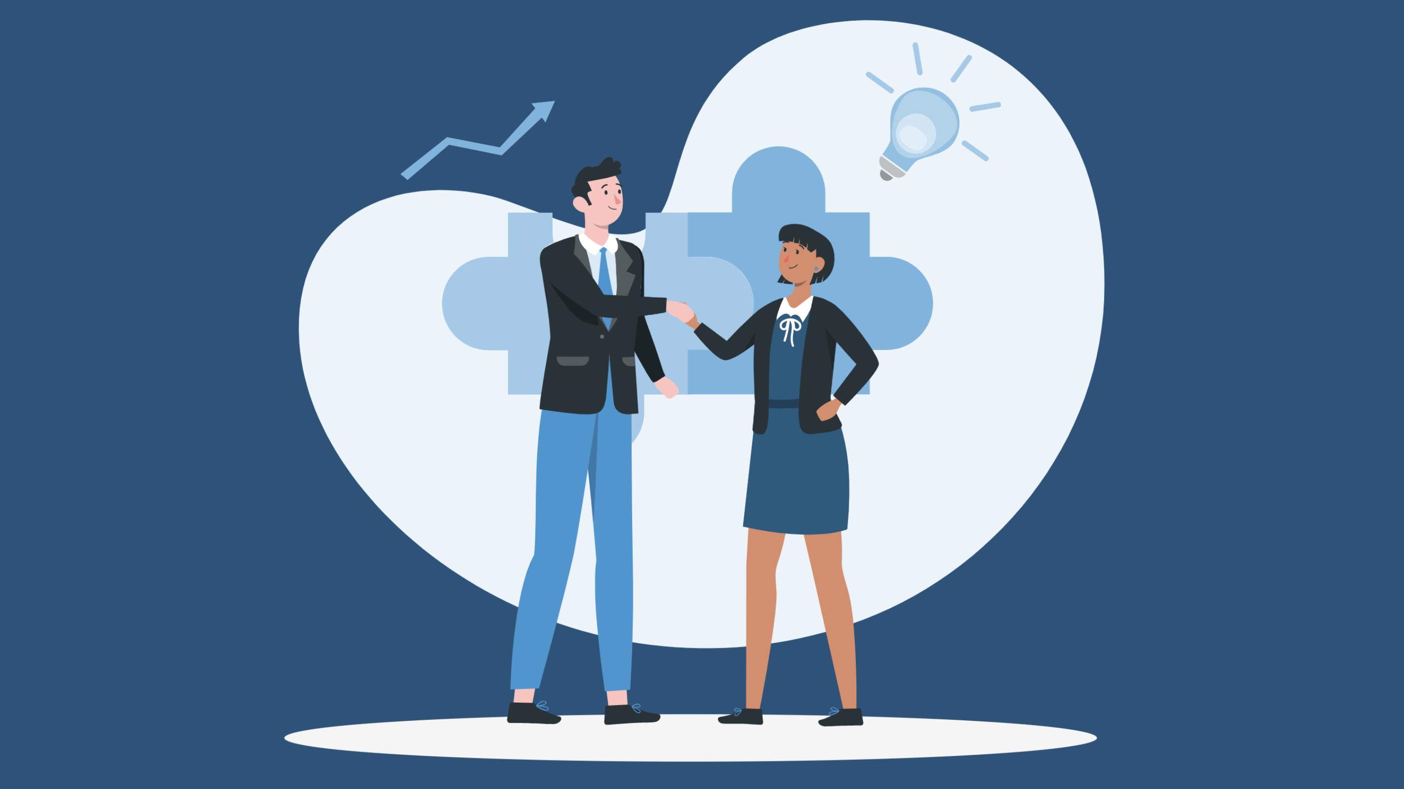innovation procurement - illustration of two people sharing ideas